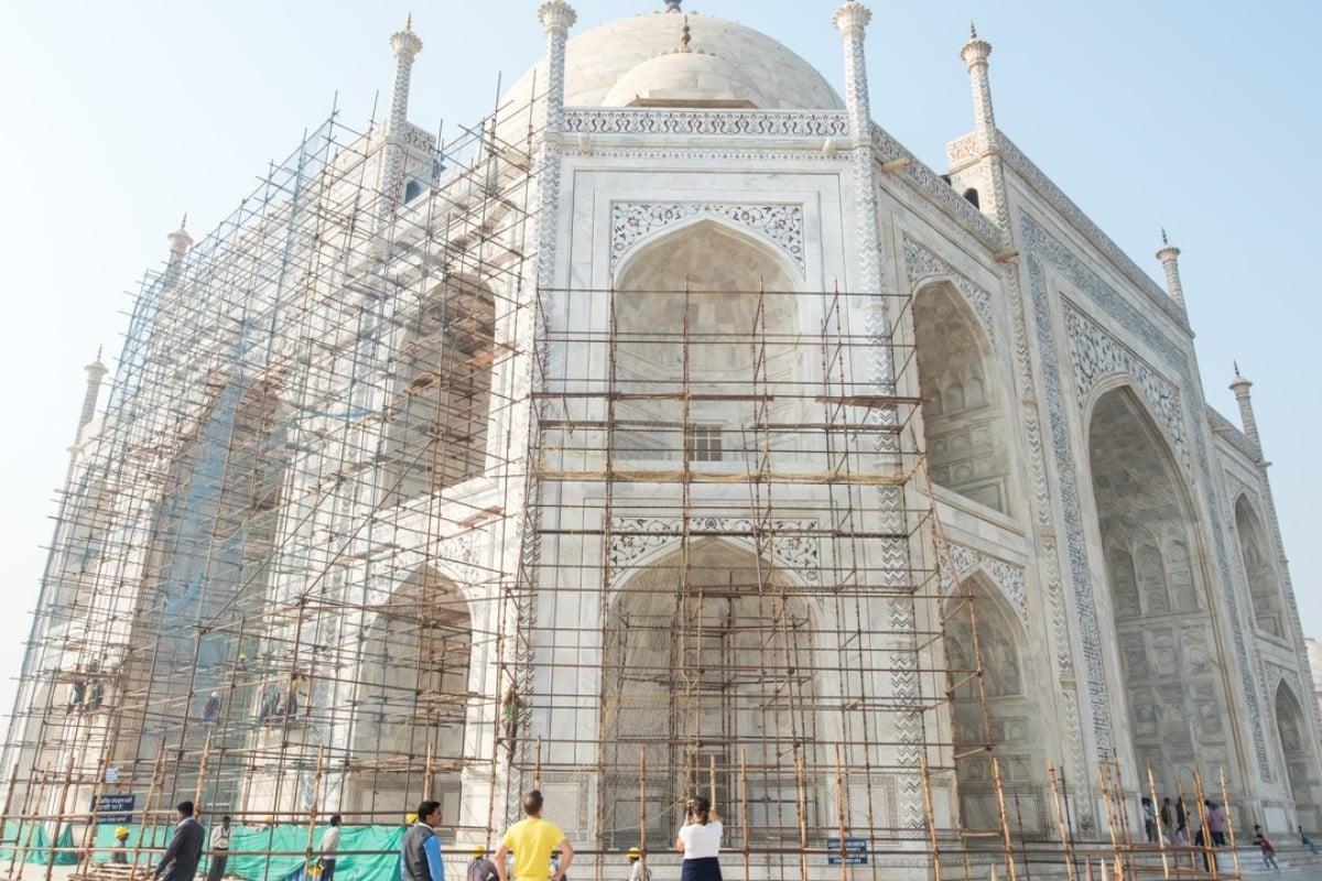 The Taj Mahal undergoes renovations.