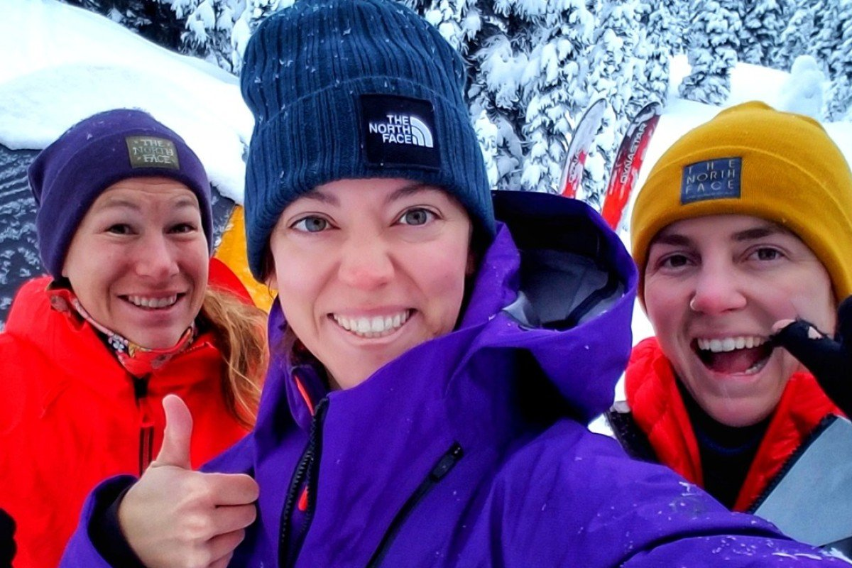 Gabrielle Degagne is flanked by flanked by Marian Krogh (left) and Nicole Newman on their all-women expedition through Kyrgyzstan. Photos: Handout