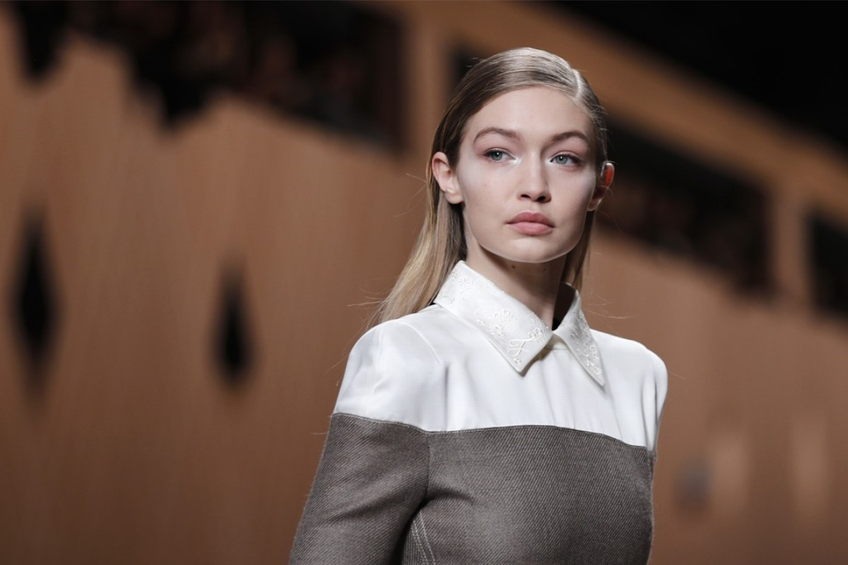Model Gigi Hadid presents the Fendi women's autumn/winter 2018-2019 collection at Milan Fashion Week. Photo: AP