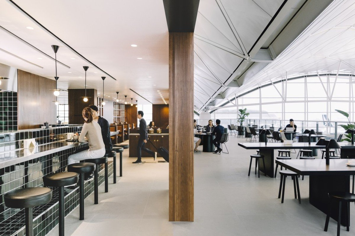 Cathay Pacific's new lounge, The Deck, at Hong Kong International Airport's Terminal 1, features an L-shaped, open area dubbed The Terrace.