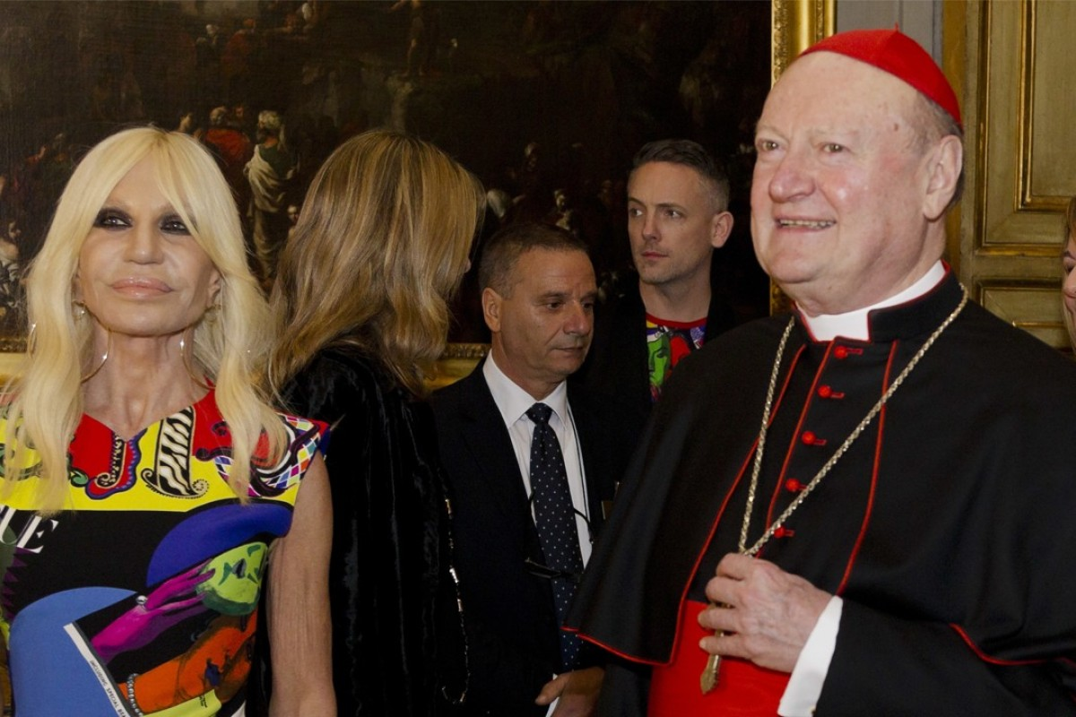 Designer Donatella Versace (left) with Cardinal Gianfranco Ravasi at the Palazzo Colonna in Rome on Monday to publicise May's New York Metropolitan Museum of Art's exhibition. Photo: AP