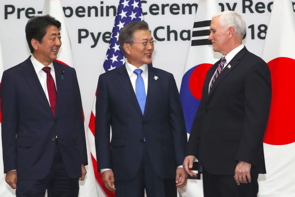 South Korean President Moon Jae-in, centre, with US Vice-President Mike Pence, right, and Japanese Prime Minister Shinzo Abe. Photo: AFP