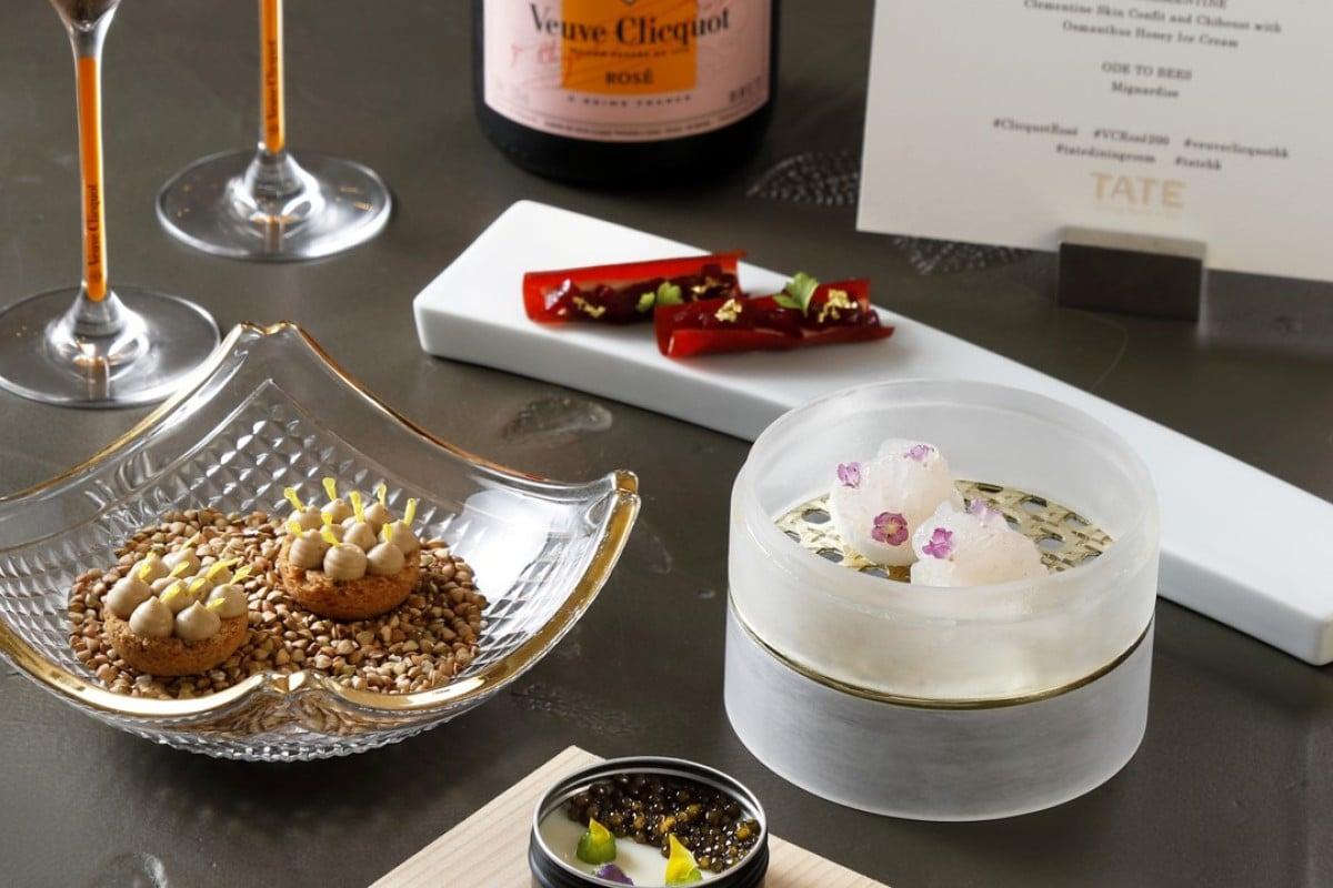 Amuse bouche selection with Veuve Clicquot's Champagne Rosé