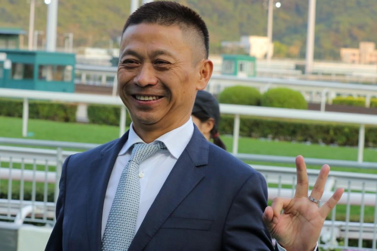 Danny Shum celebrates his three winners at Sha Tin on Sunday. Photo: Kenneth Chan
