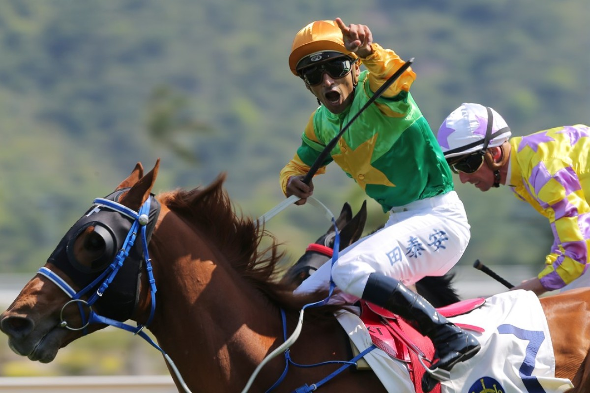 Karis Teetan gets excited as he records his 200th Hong Kong winner. Photos: Kenneth Chan