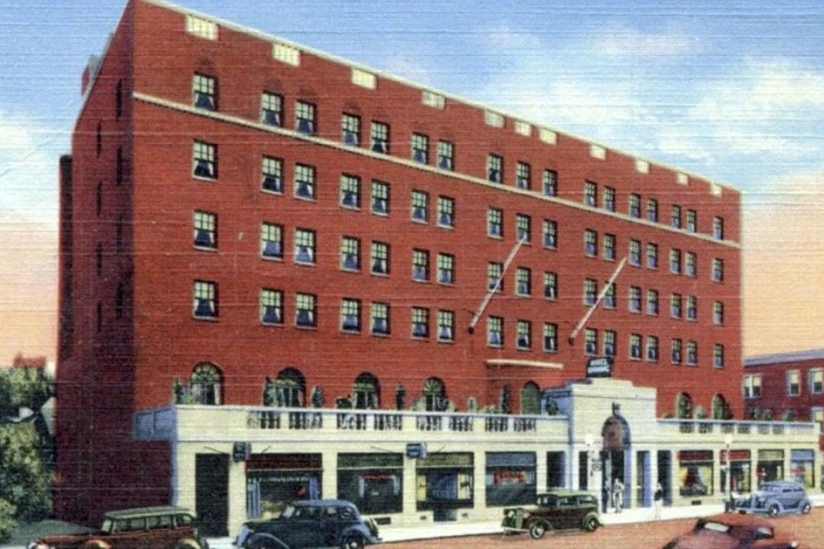 An historic drawing of the original Hotel Saranac, in New York State. Photo: Hotel Saranac