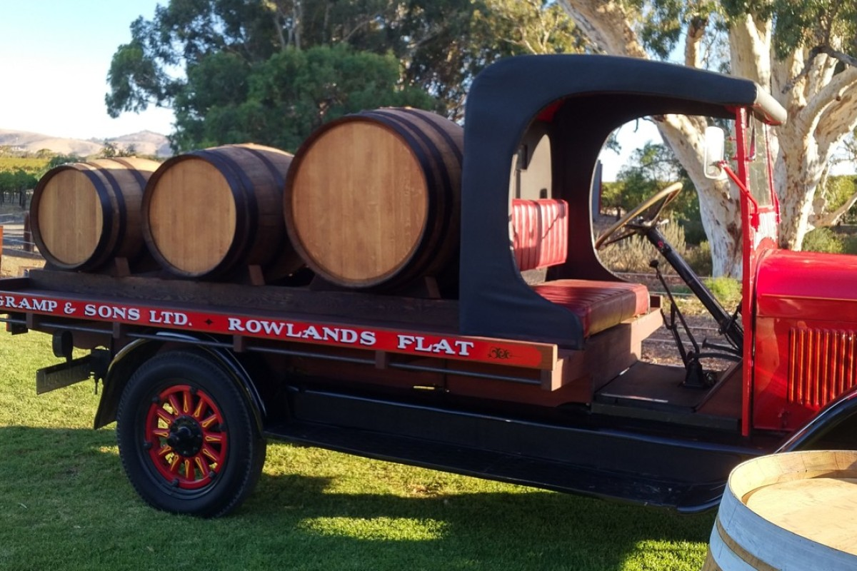 A 1930s truck at the Barossa Valley vineyard producing the impressive Jacob's Creek Double Barrel Shiraz.