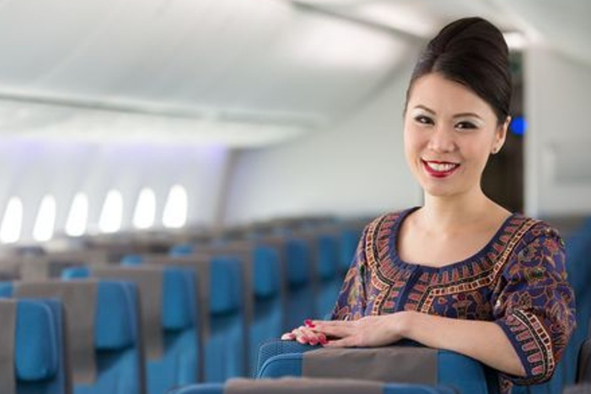 A Singapore Airlines flight attendant aboard its first Boeing 787-10 aircraft. Photo: Jeremy Dwyer-Lindgren