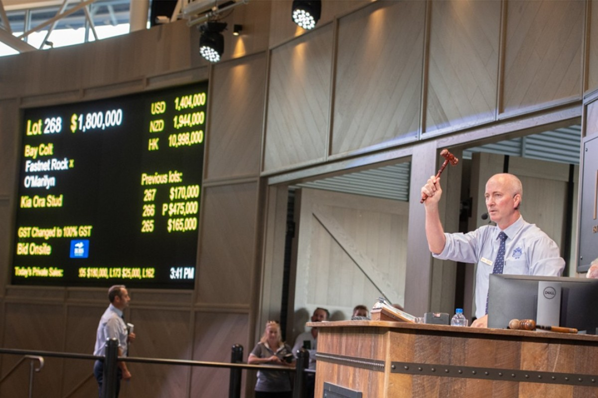 An Inglis auctioneer knocks down Lot 268 to George Moore Bloodstock for A$1.8 million. Photo: Handout.