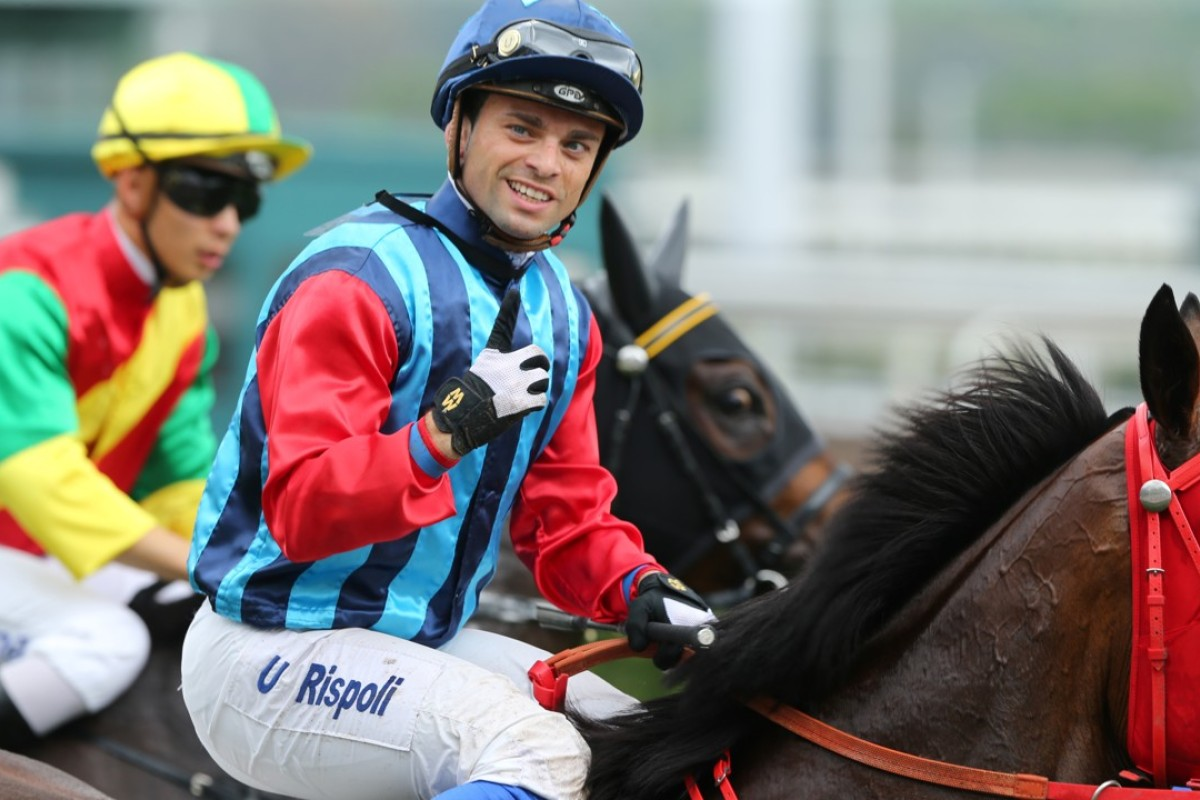 Umberto Rispoli returns to scale after winning aboard Namjong Invincible. Photo: Kenneth Chan