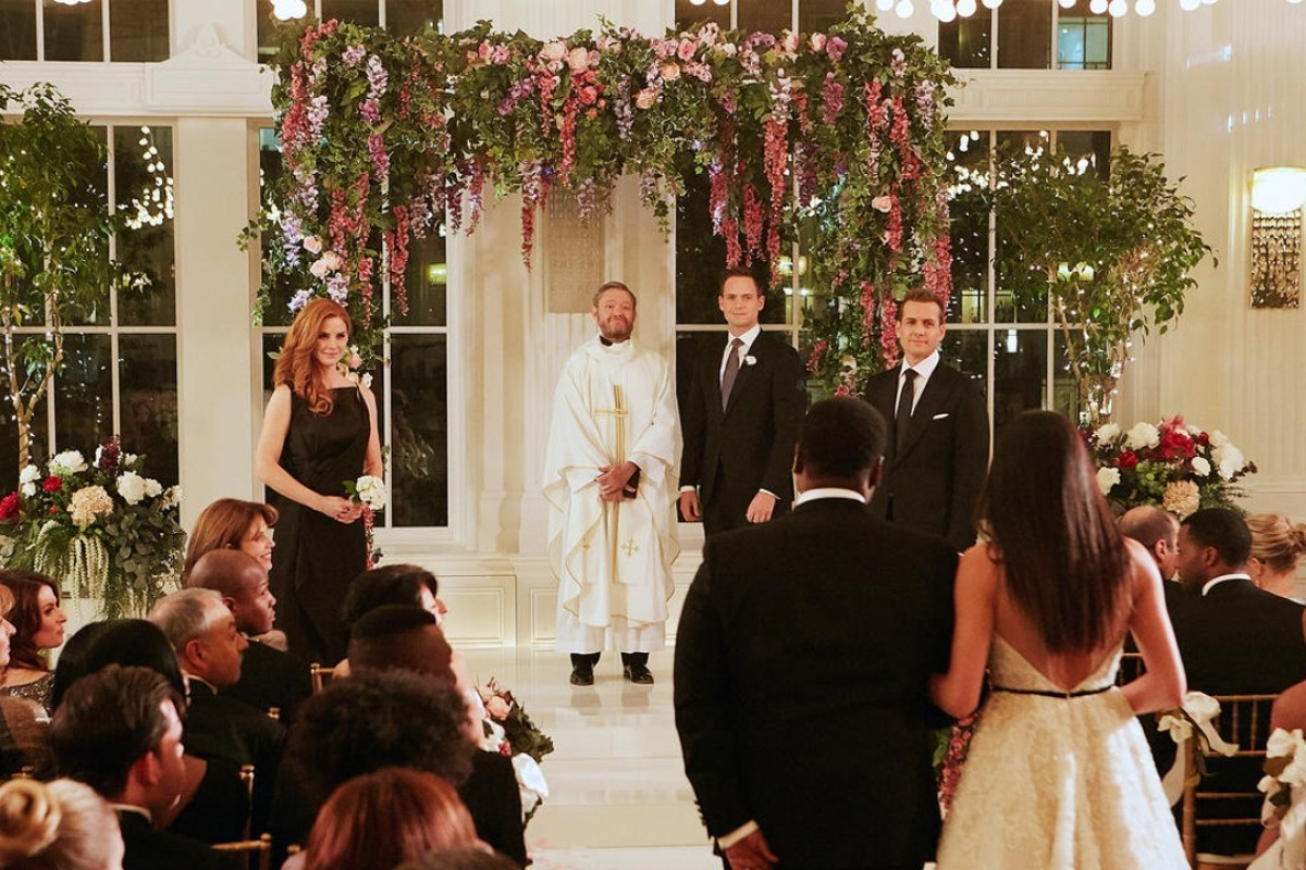 A wedding scene from the 'Good-Bye' episode of 'Suits', in which the character played by actress Meghan Markle – who will marry Britain's Prince Harry on May 19 – €dreams of getting married at the Plaza Hotel in New York City. The hotel, and the Fairmont Royal York in Toronto, where the scene was filmed, will host royal-themed events in honour of Markle's€wedding. Photo: USA Network/AP