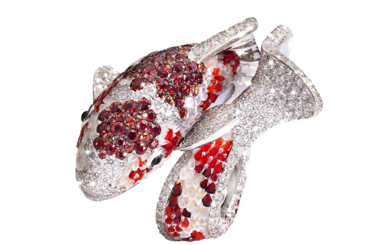 A ring from the Koi collection by Italian jeweller SICIS Jewels, inspired by an ancient Chinese legend of a carp turned into a dragon by the gods.