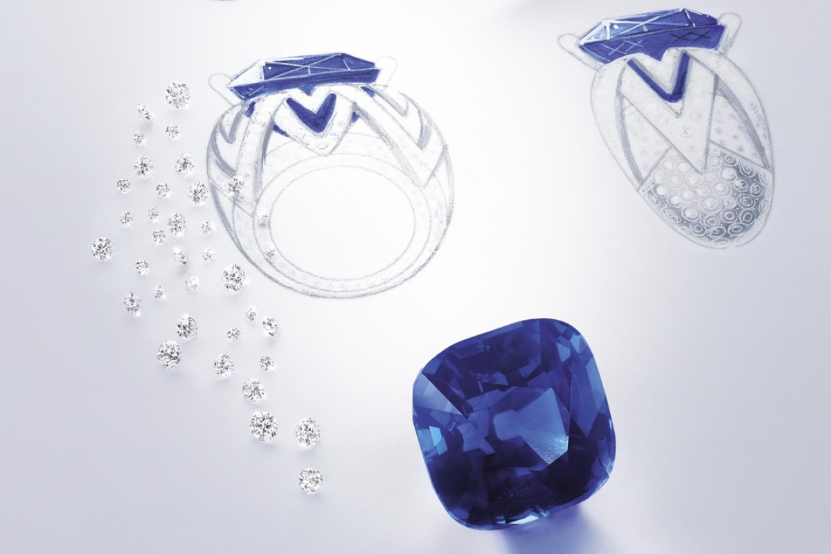 The making of Piaget Blue Ring 18ct white gold ring set with a 53.45ct cushion-shaped blue sapphire from Burma and brilliant-cut diamonds. Photo: Eric Sauvage