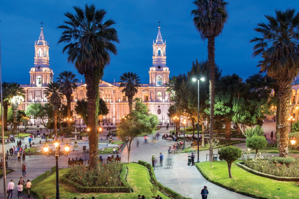 Arequipa cathedral provides a stunning backdrop to popular meeting spot Plaza de Armas, in Peru. Pictures: Tim Pile