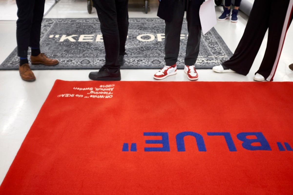 One of the carpets created by Virgil Abloh, the Off-White founder and designer, in collaboration with furniture and home accessories retailer Ikea, aims at design-focused millennial shoppers.