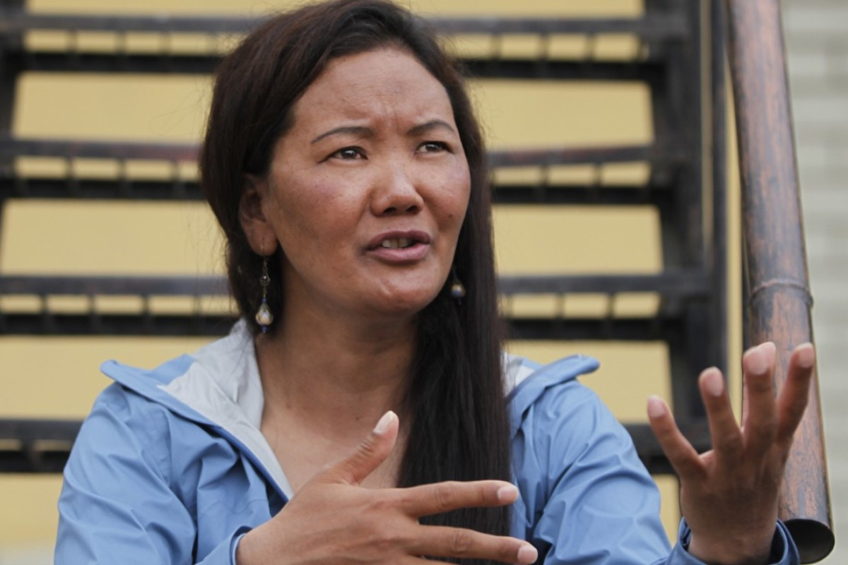 Lhakpa Sherpa talks in Kathmandu. Sherpa scaled Everest breaking her own record for the most climbs by a woman. Photo: AP