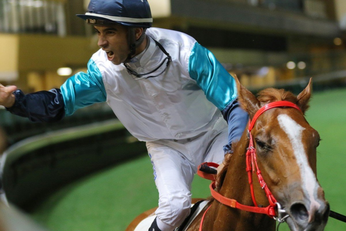 Joao Moreira celebrates his win aboard Gunnison. Photo: Kenneth Chan