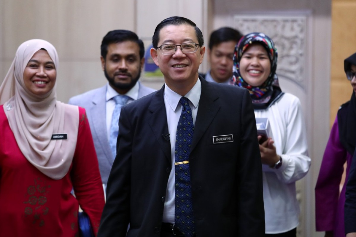 Malaysian Finance Minister Lim Guan Eng (centre) in Putrajaya. Photo: Nora Tam