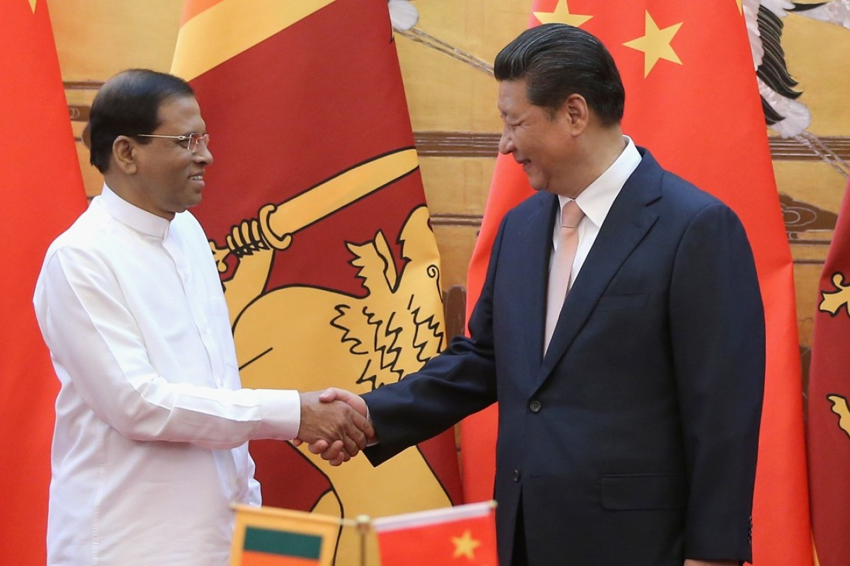 Sri Lankan President Maithripala Sirisena meets Chinese President Xi Jinping meets in Beijing. Photo: AFP