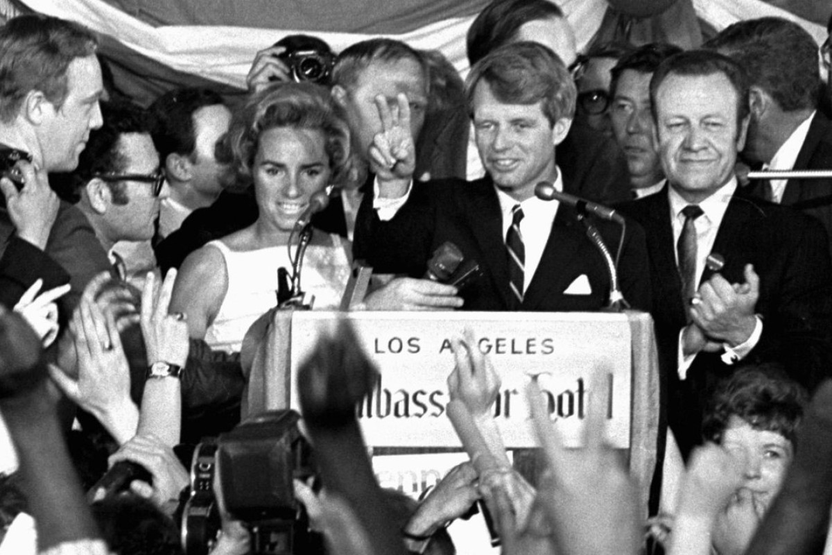 Senator Robert F. Kennedy speaks his final words to supporters at the Ambassador Hotel in Los Angeles, moments before he was shot on June 5, 1968. Picture: AP