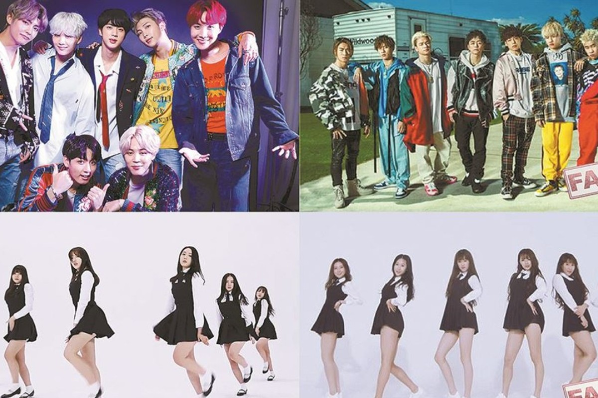 (Clockwise from top-left) Billboard chart-topping K-pop boy band BTS, new J-pop boy band Ballistik Boys, Chinese girl band AOS, and K-pop girl band GFriend. Graphics: Cho Sang-won