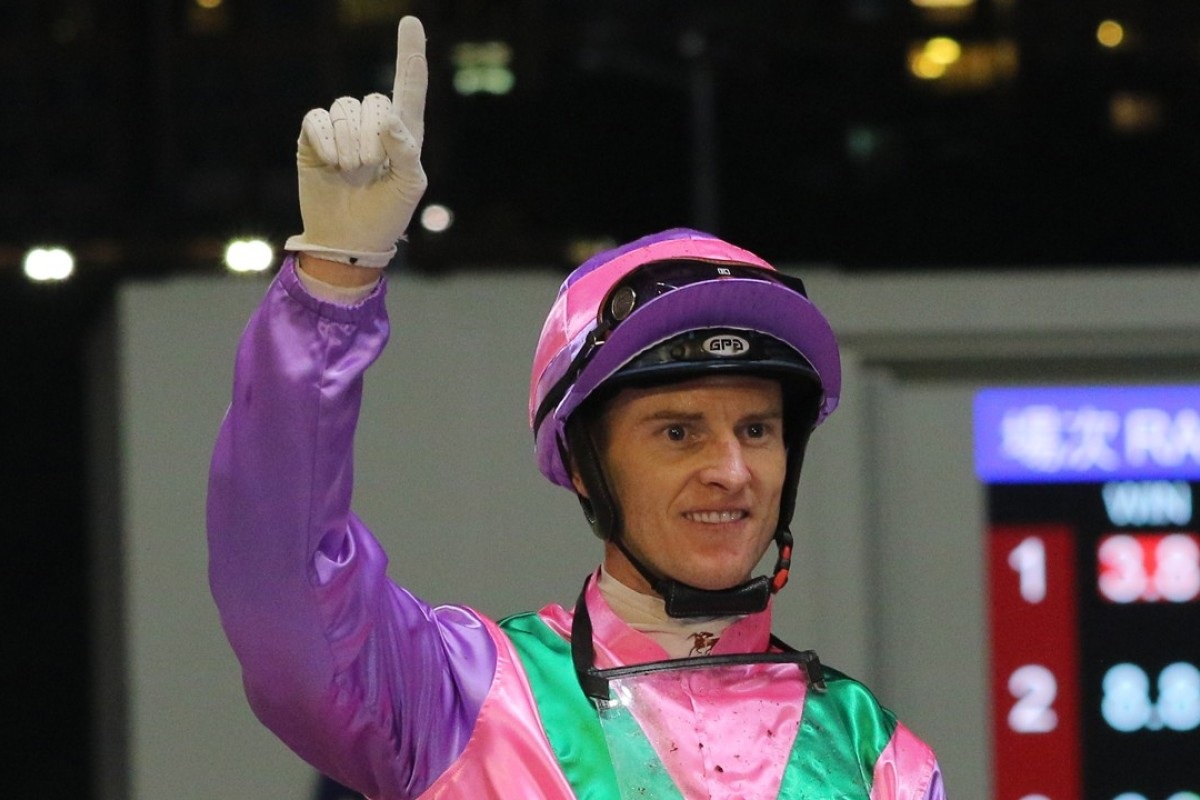 Zac Purton celebrates one of his four winners at Happy Valley on Wednesday night. Photos: Kenneth Chan
