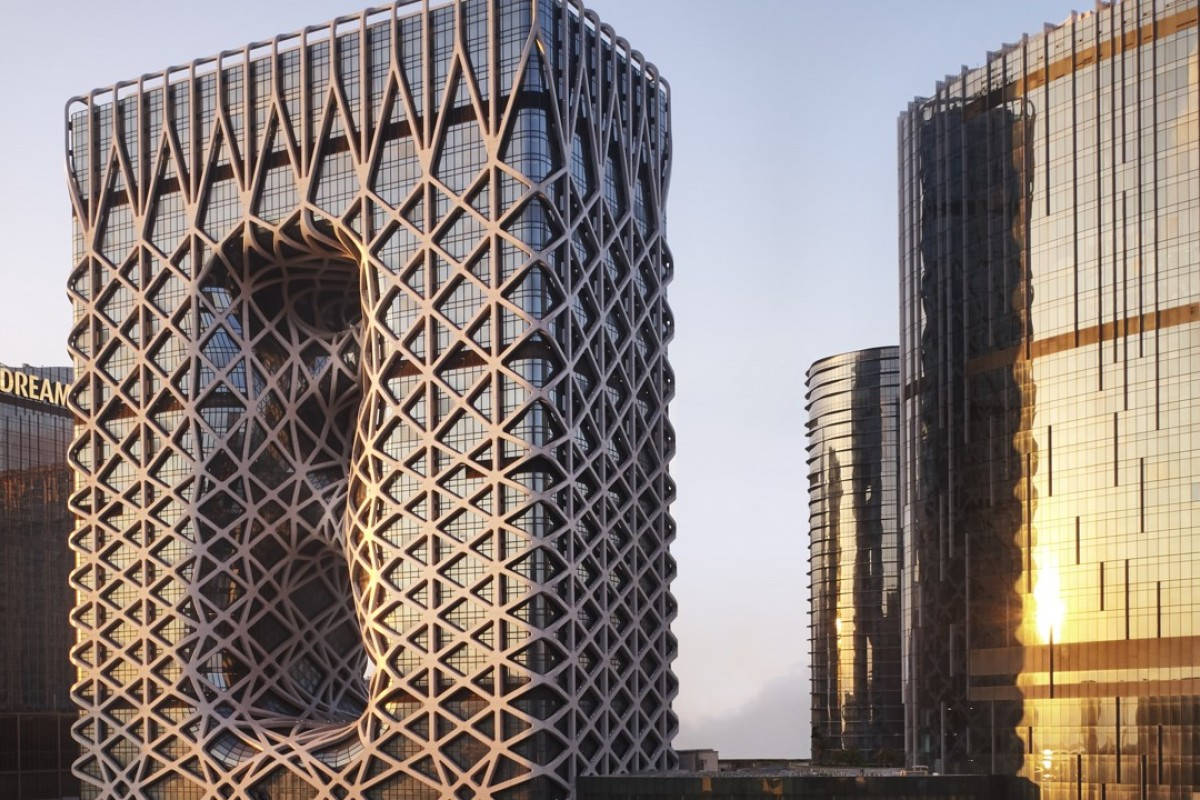 The monolithic Morpheus makes its mark on Macau's eclectic skyline with a high-rise, aluminium exoskeleton.