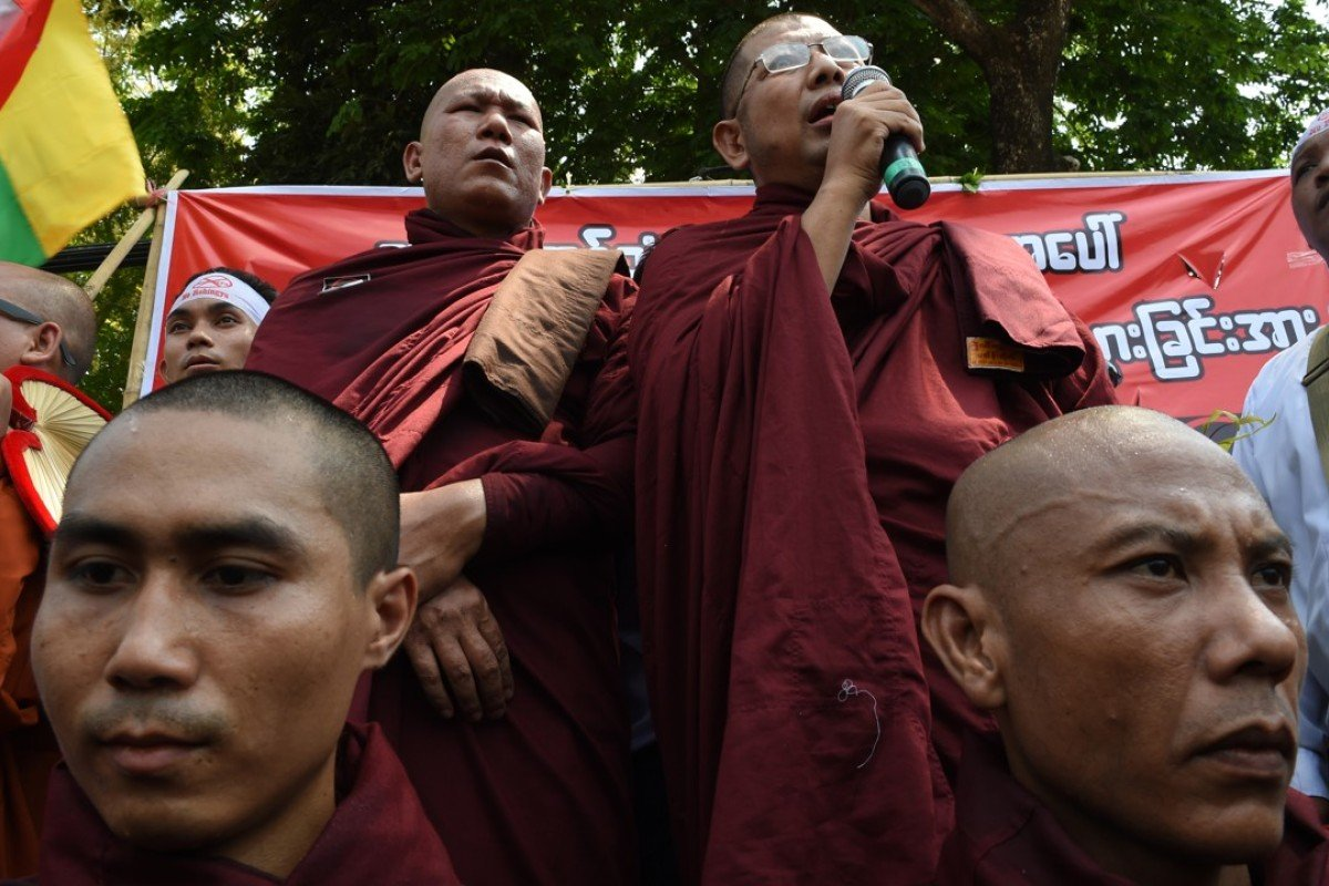 Monks belonging to the hardline Buddhist group MaBaTha rally outside the US embassy in Yangon. Photo: AFP