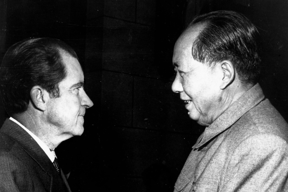 Mao Zedong meets president Richard Nixon, in 1972. Picture: Alamy