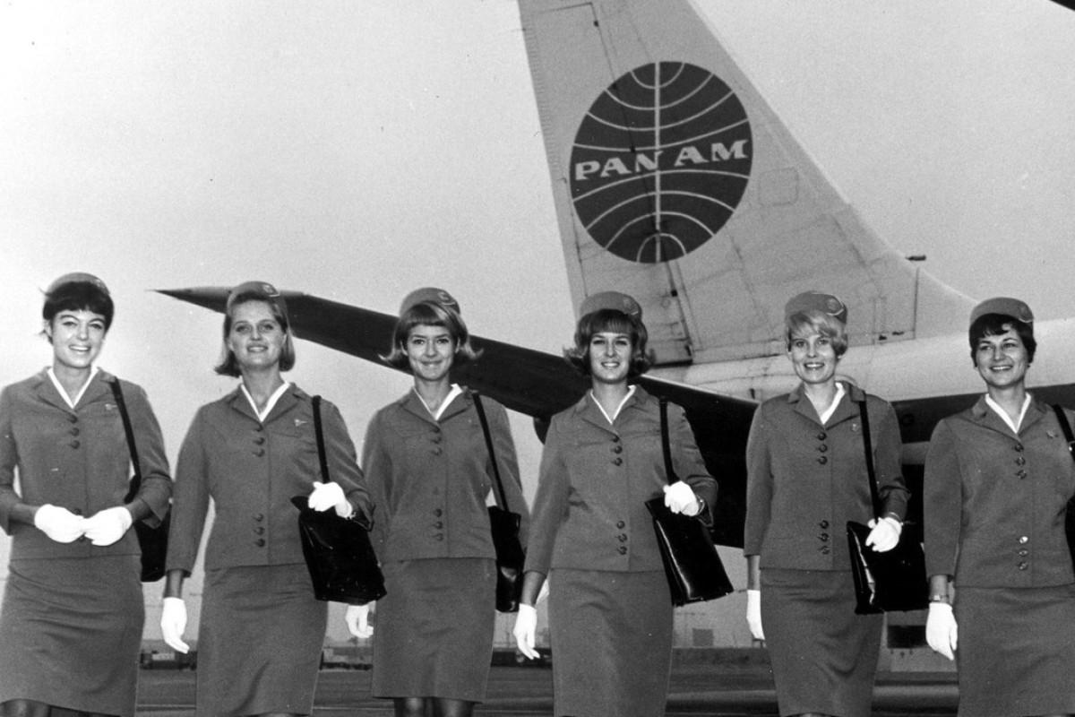 Pan Am Boeing 707 flight attendants in the 1960s.