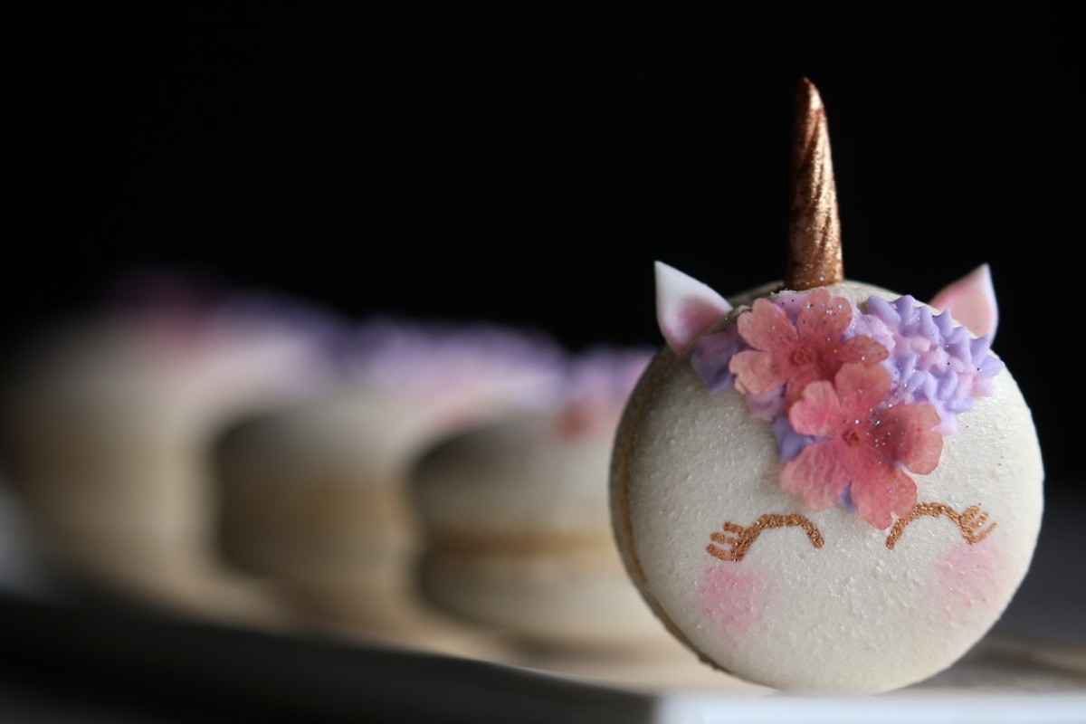 """""""Unicorn"""" macarons by Anita Caswell Ng of Little Miss Macarons. Pictures: Dickson Lee"""