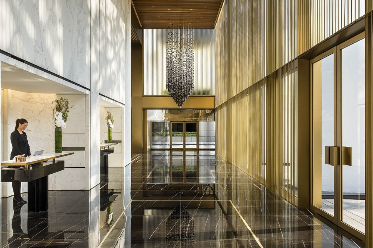 The hotel'has a light-filled, gilded lobby. Photos: The Murray, Hong Kong