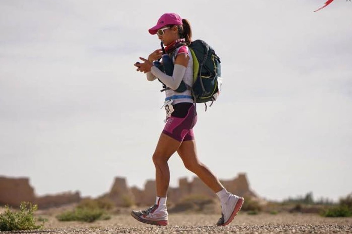 Samantha Chan in the midst of the 400km Ultra Gobi. Photo: Lloyd Belcher Visuals