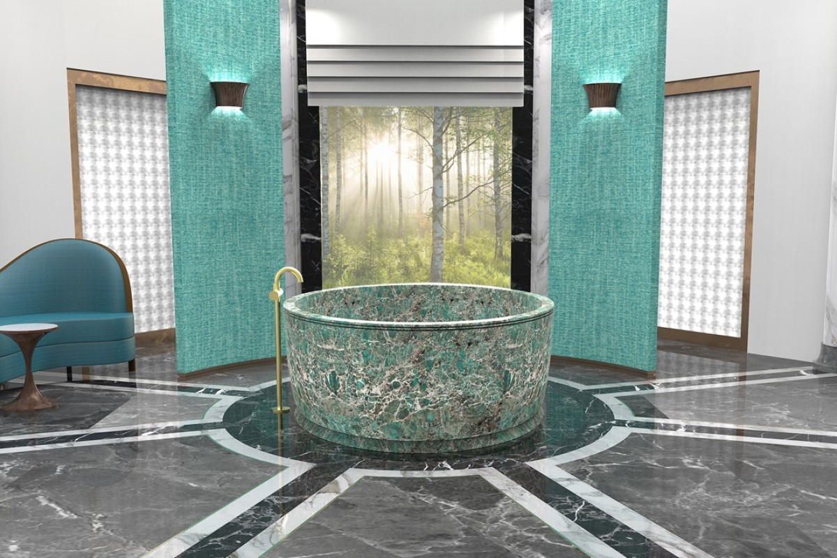 Inspired by forest bathing, with large windows opening into nature, the bathroom allows you to be at one with the environment while also being in the lap of luxury, which is a wonderful combination.