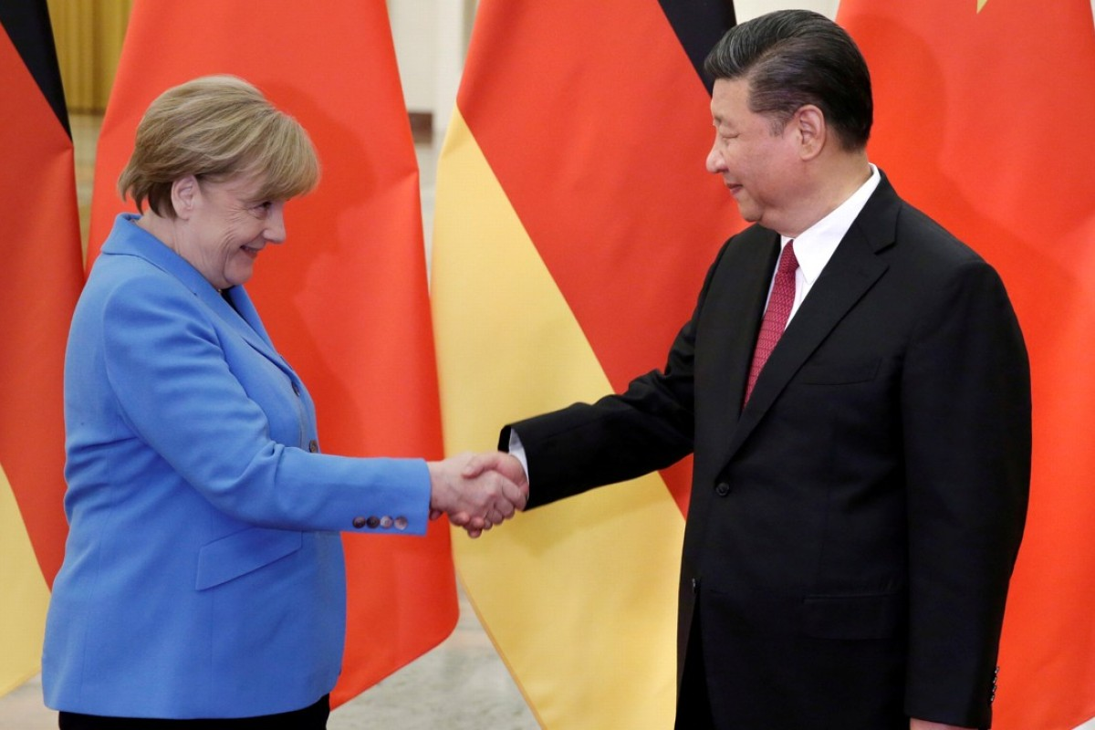 China's President Xi Jinping meets German Chancellor Angela Merkel at the Great Hall of the People in Beijing, China. Photo: Reuters