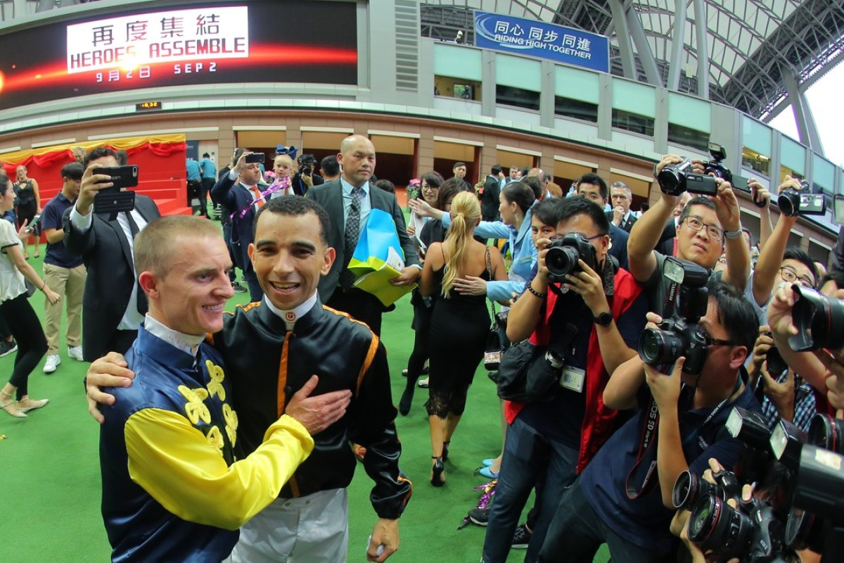 Zac Purton and Joao Moreira celebrate a huge season. Photos: Kenneth Chan