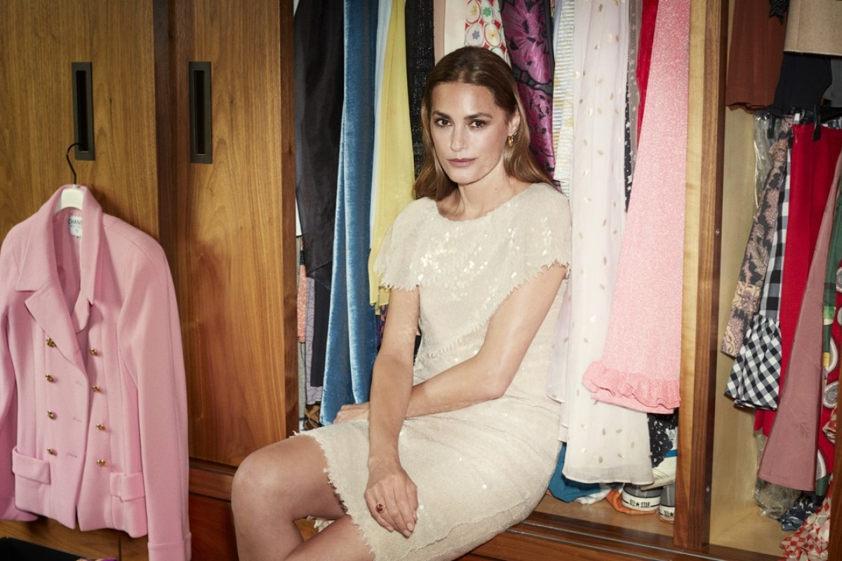 Yasmin Le Bon wears a Chanel dress, which is among the outfits from her career as a supermodel that she is selling on the luxury pre-owned fashion online marketplace, Vestiaire Collective.