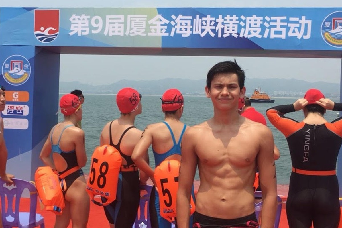 Bill Thorley finishes fifth in the Xiamen to Quemoy (also known as Kinmen) open water swimming race, despite leading for much of his leg. Photo: Handout