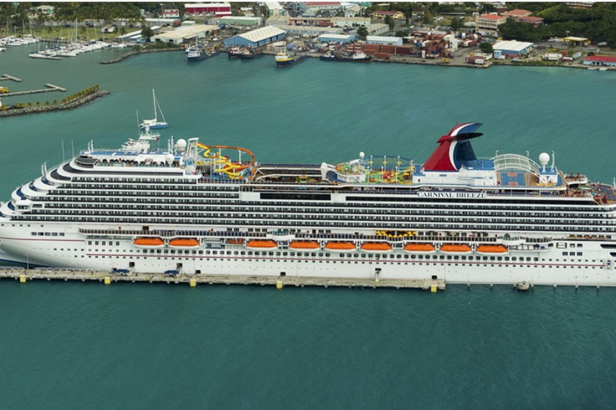 Carnival Breeze, a Dream-class liner owned by Carnival Cruise Line which entered service in 2012, docked in Tortola, in the British Virgin Islands. Photo: Danny Lehman
