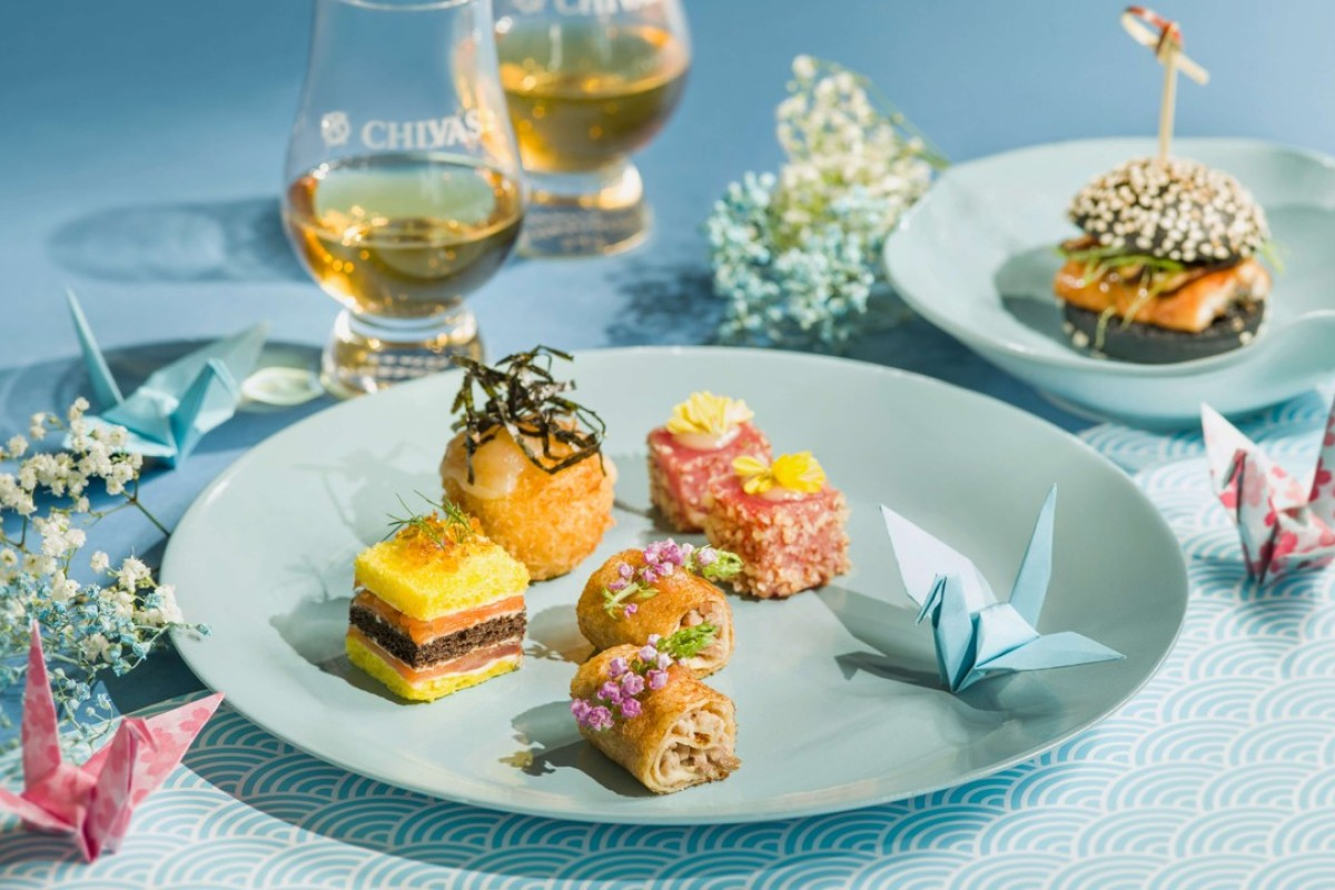 Mini sandwiches and cold canapés are among the treats on offer at Conrad Hong Kong's Chivas Mizunara tea set.