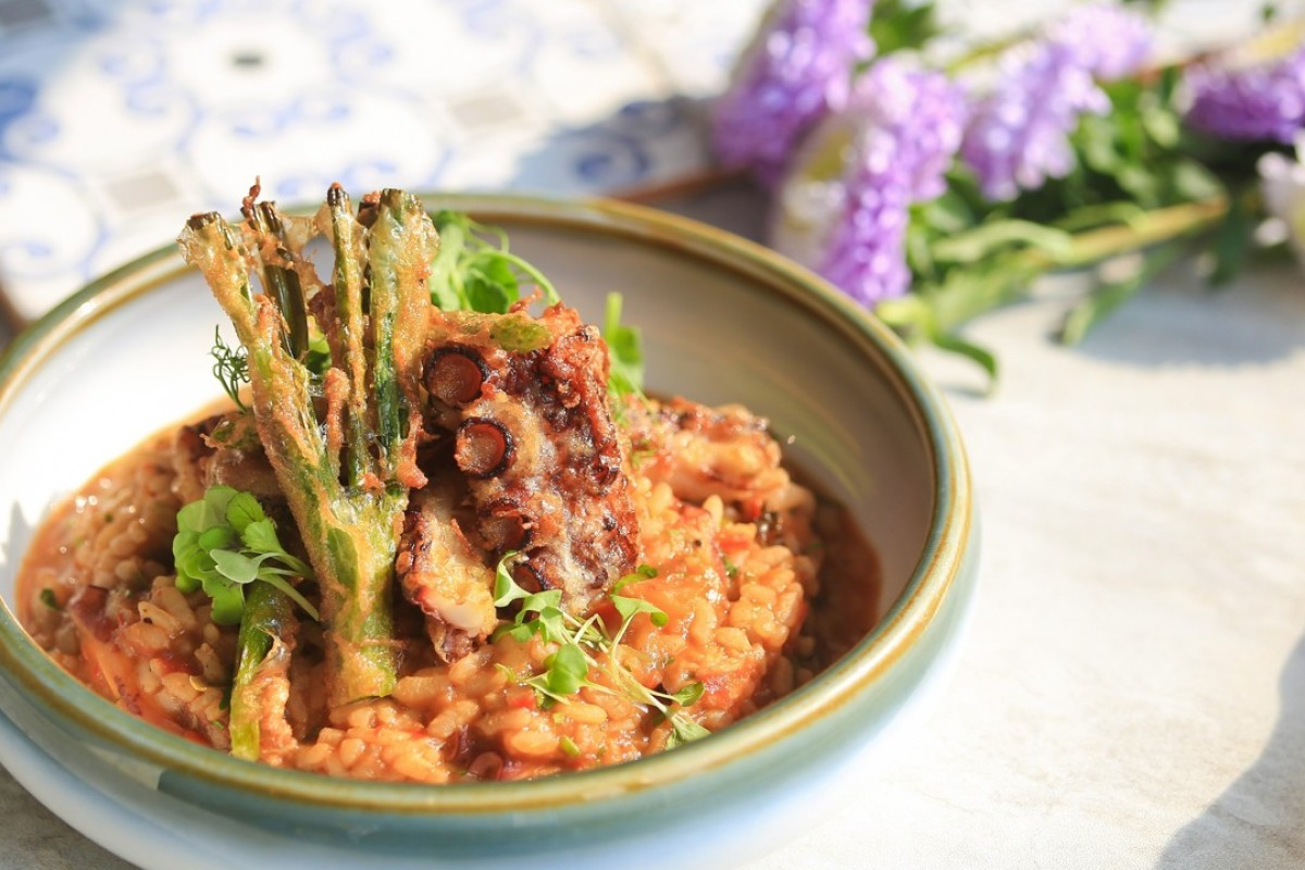 Octopus rice with spring onion, green asparagus and octopus tempura is one of the Portuguese dishes on offer at Casa Lisboa, in Central, during Hong Kong Restaurant Week, which runs from August 23 to September 2.