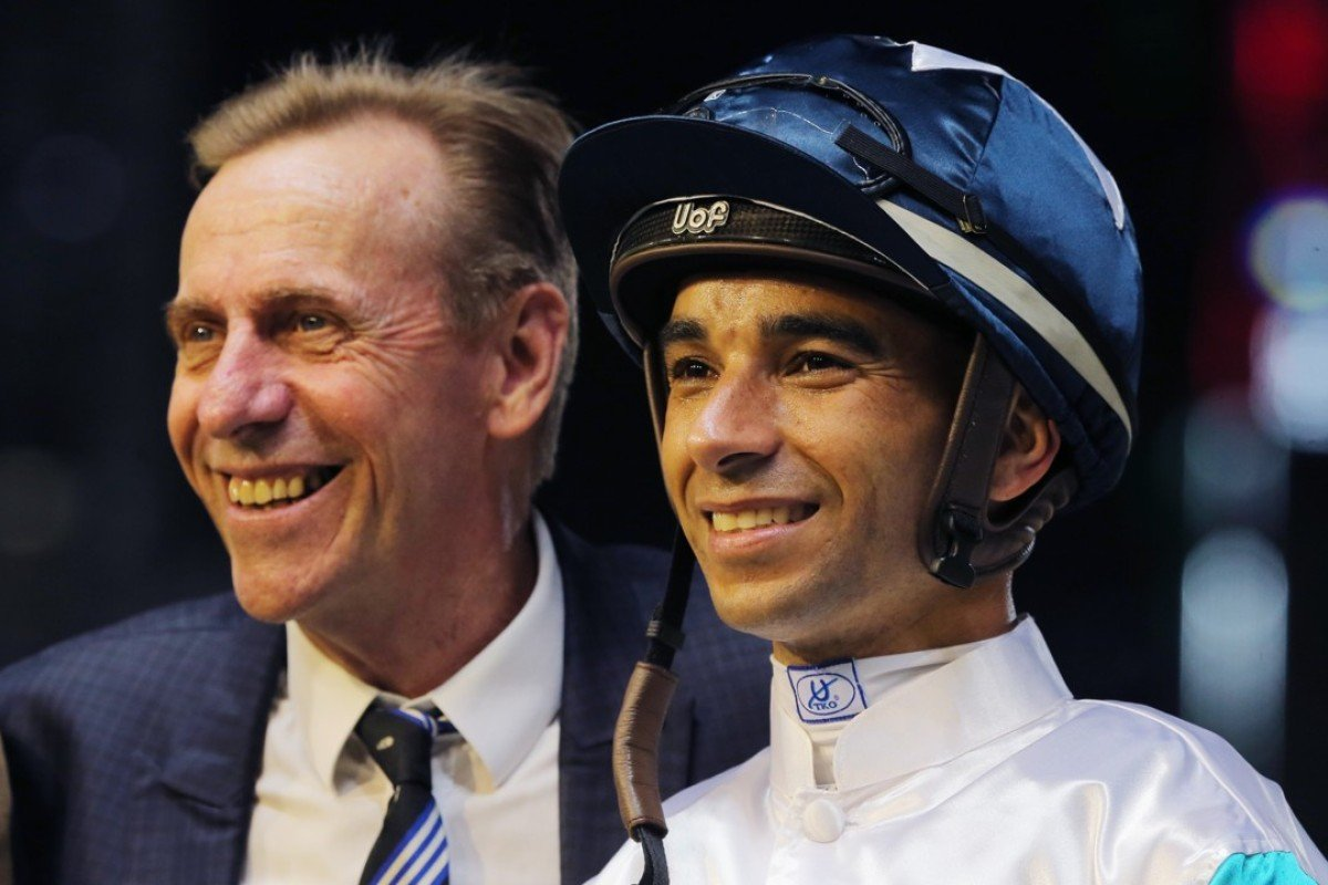 Trainer John Size and Joao Moreira celebrate a winner. Photos: Kenneth Chan