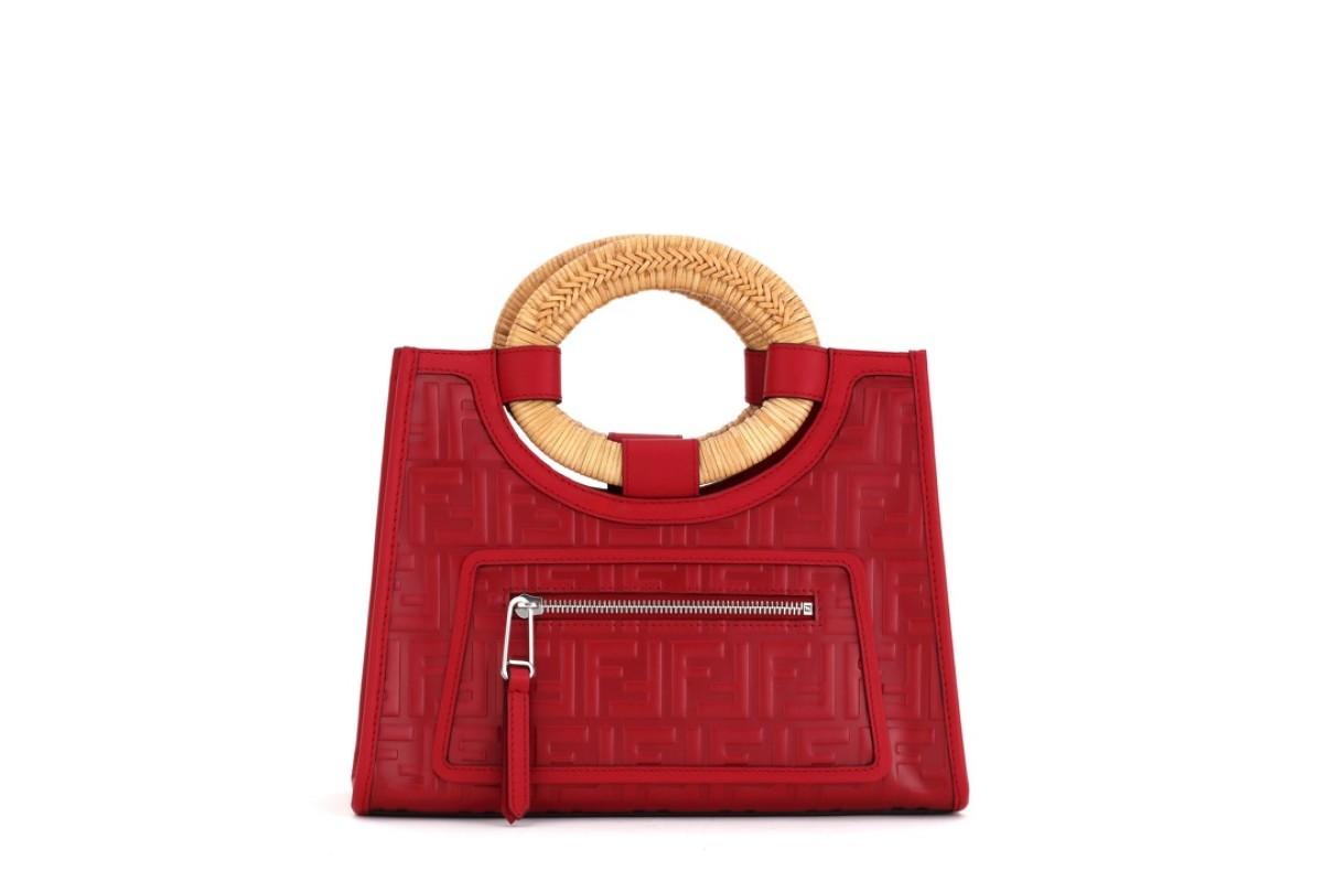 Fendi The Mini Runaway Bag In Red Calfskin Has Raised Ff Motifs Over Entire