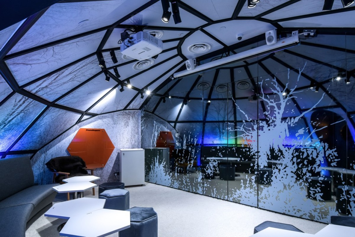 Delegates can see the Northern Lights while having a meeting in the igloo room at Huone Clarke Quay Singapore.
