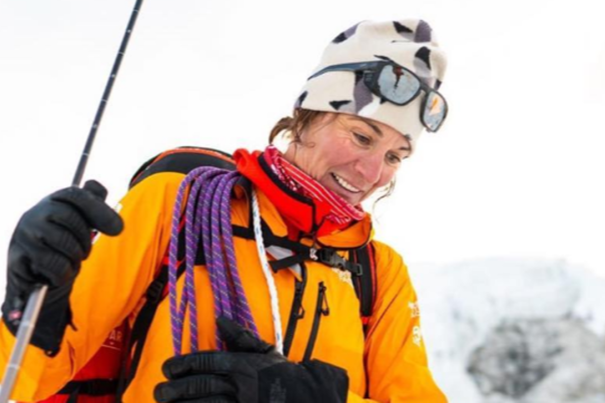 Hilaree Elson and her climbing partner Jim Morrison became the first people to ski down Lhotse. Photo: The North Face/Instagram