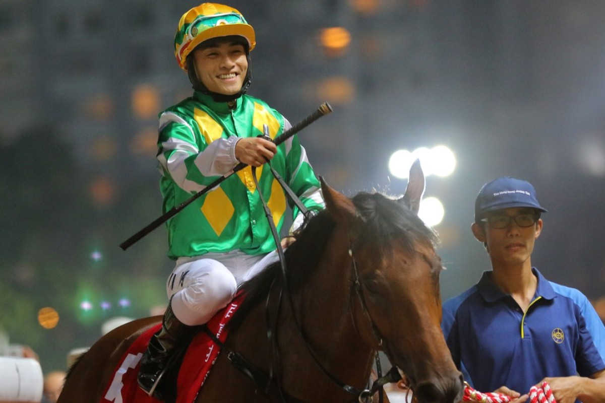 Keith Yeung celebrates his victory aboard Namjong Plus on Wednesday night. Photos: Kenneth Chan