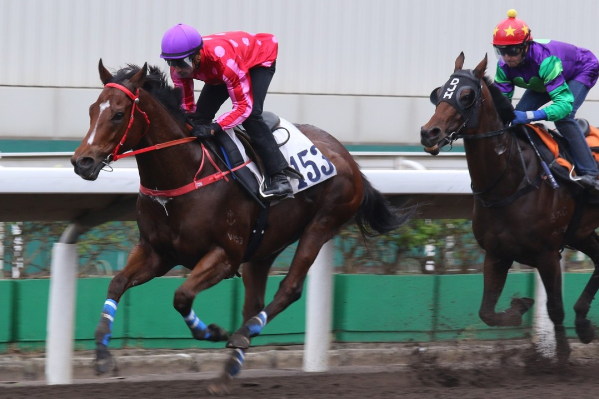Karis Teetan guides Mr Stunning to victory in a trial at Sha Tin on Tuesday morning. Photos: Kenneth Chan