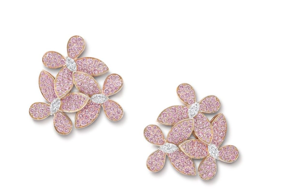 GRAFF. The Pavé Butterfly Collection is inspired by the delicate beauty of the creature. These round pink diamond and marquise white diamond earrings, totalling 3.36ct, have the perfect bling, HK$860,000