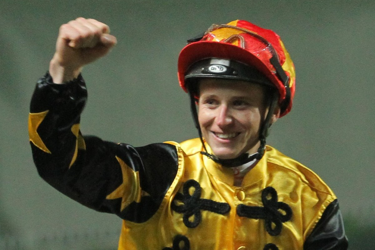 James McDonald celebrates a win during the 2014 International Jockeys' Championship at Happy Valley. Photos: Kenneth Chan