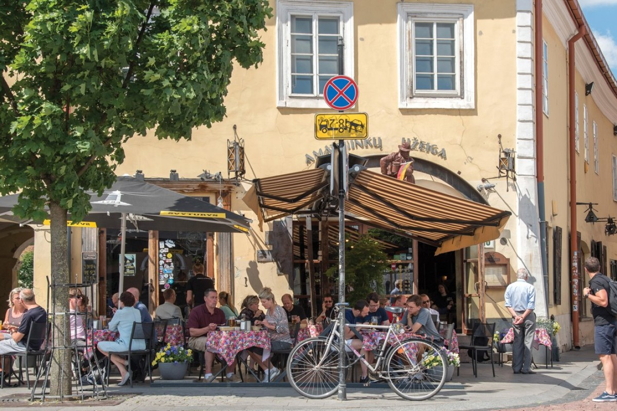 Restaurants in the Old Town of Vilnius, Lithuania's capital. Photo: Tim Pile
